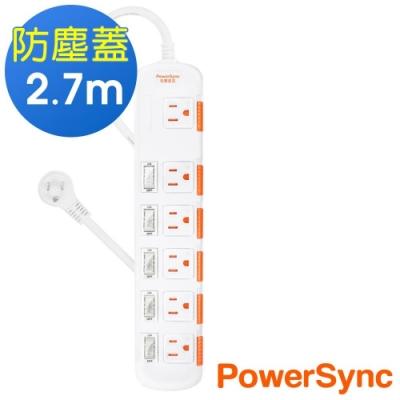 PowerSync 群加 3孔6開6插 滑蓋防塵防雷擊延長線/2.7米(TS6X9027)