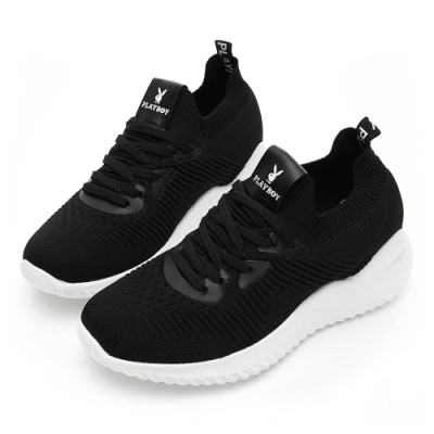 PLAYBOY 針織襪套式增高休閒鞋-黑-Y5732CC