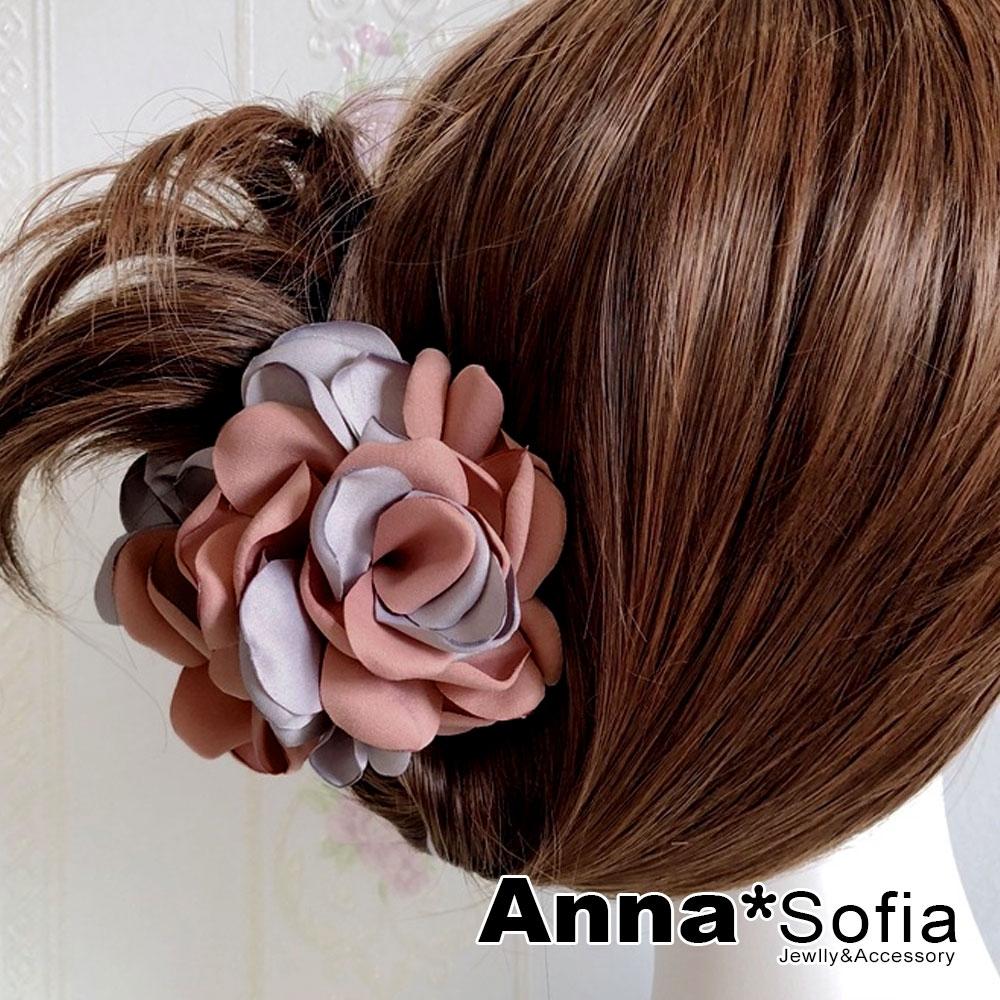 【2件7折】AnnaSofia 雙色綻瓣 純手工中型髮抓髮夾(灰茵粉系)