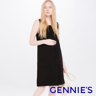Gennies奇妮-U領綁帶式孕婦洋裝-黑(T2J05)