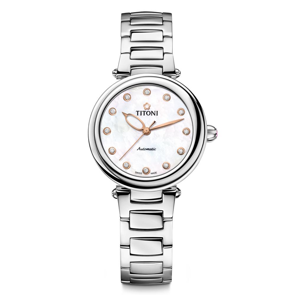 TITONI瑞士梅花錶 炫美時尚快拆系列-珍珠母貝錶盤/不鏽鋼鍊帶/33.5mm