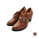 SM-金屬扣環簡約霸氣時尚踝靴-棕色 (兩色)