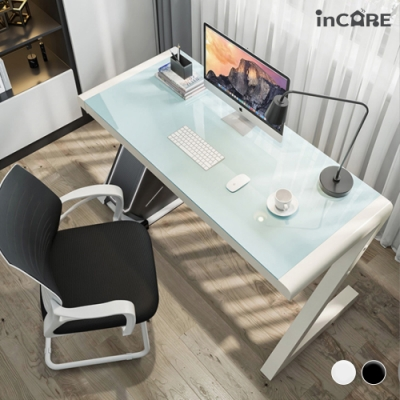 【Incare】簡約時尚Z型鋼化玻璃電腦桌書桌(120X60X75cm)
