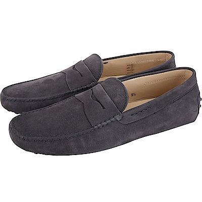 TOD'S 經典暗礦藍麂皮豆豆樂福鞋(男鞋/<b>9</b>.<b>5</b>號)