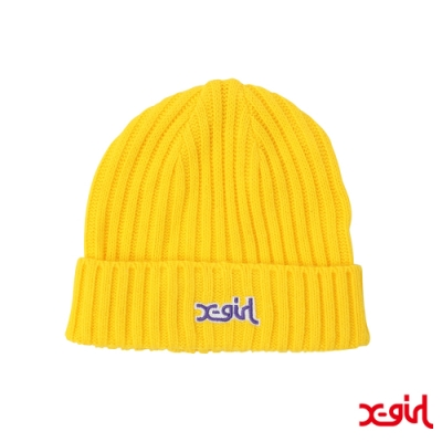 X-girl RIB KNIT CAP 毛帽-黃