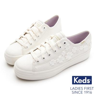 Keds x Kate Spade 聯名款 TRIPLE KICK 立體幸運草綁帶帆布鞋-白