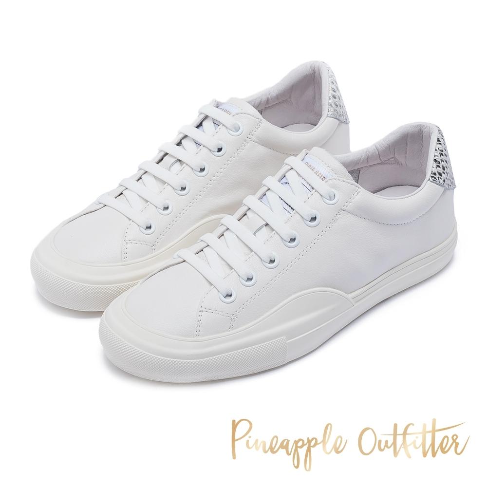 Pineapple Outfitter 真皮小白鞋 金屬感後跟休閒平底鞋-蛇皮