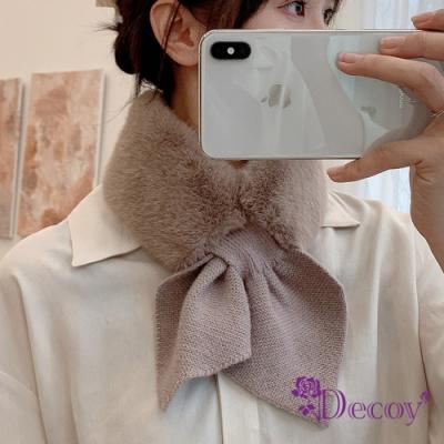 Decoy 兔毛蝴蝶 保暖交叉針織脖圍圍巾 2色可選