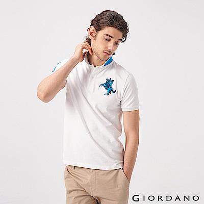 GIORDANO 男裝經典拿破崙撞色刺繡彈力萊卡POLO衫-01 標誌白