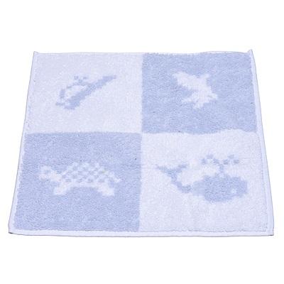 HERMES 經典Animaux Pixel海洋動物圖案純棉方巾(藍)