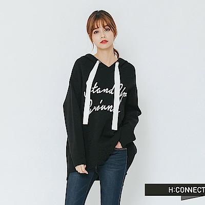 H:CONNECT 韓國品牌 女裝-抽繩印字針織帽T-黑