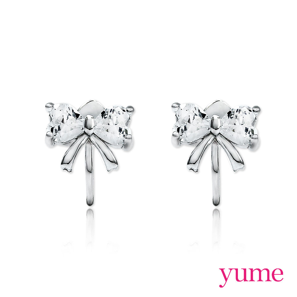 YUME 純銀耳夾-蝴蝶結晶鑽