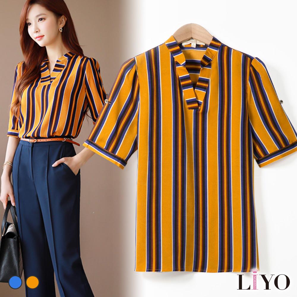 襯衫條紋OL立領V領短袖寬鬆透氣襯衫LIYO理優E825026 S-XL