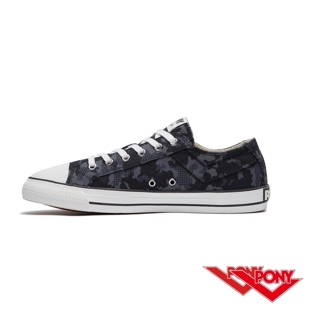 【PONY】Shooter系列迷彩百搭復古帆布鞋 休閒鞋  男鞋 黑色