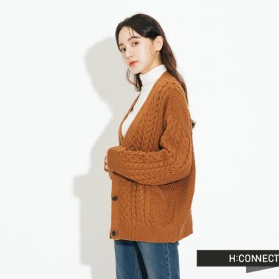 H:CONNECT 韓國品牌 女裝 - 麻花造型針織外套 - 棕