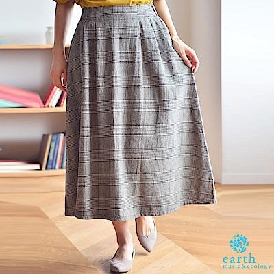 earth music 棉質格紋/素面長裙