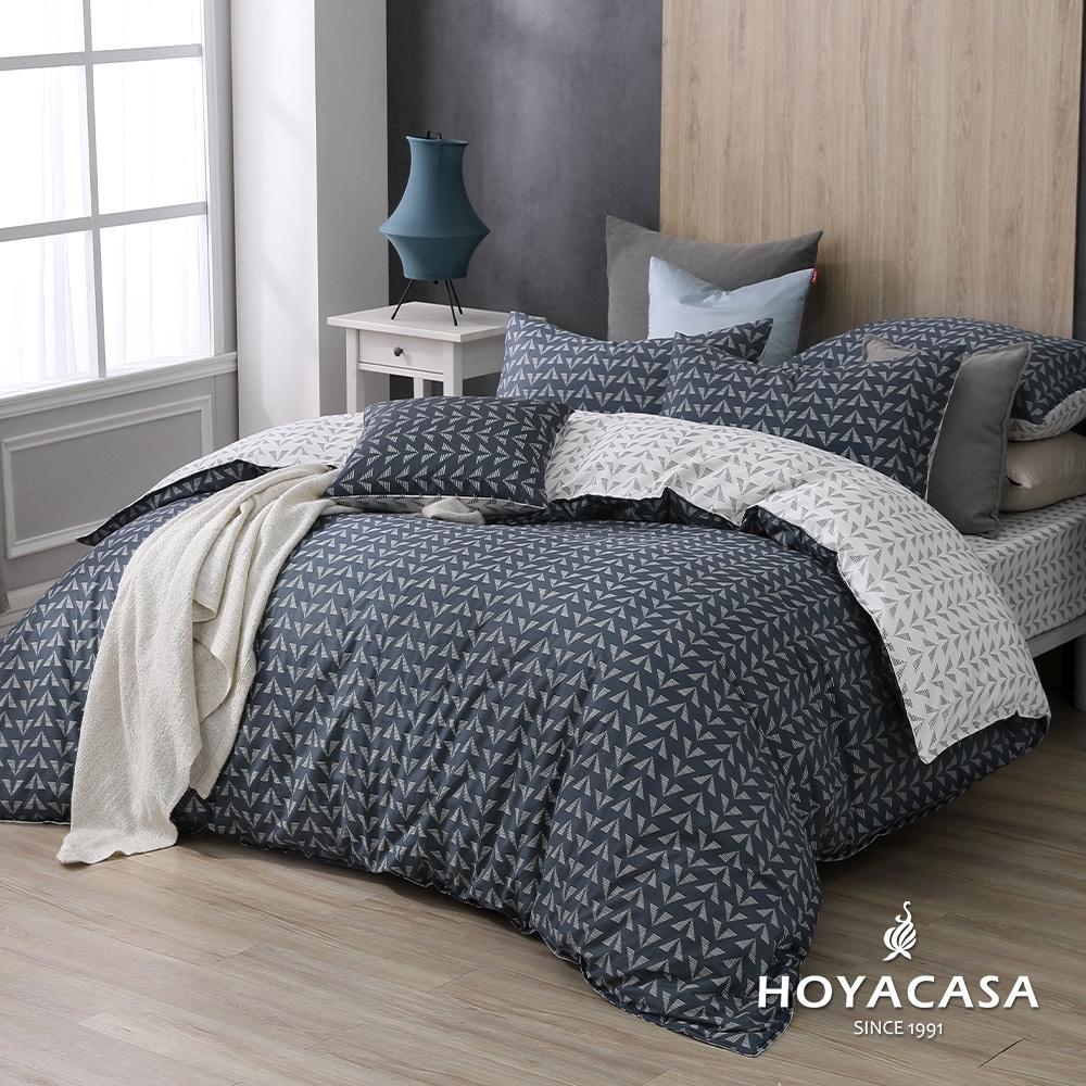 HOYACASA 100%精梳棉單人兩用被床四件式包組-萊卡(天絲入棉30%)
