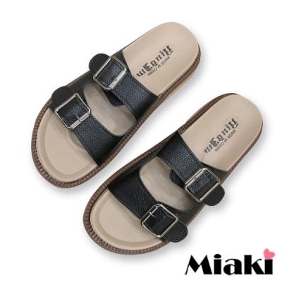 Miaki-拖鞋經典雙扣厚底涼拖-黑