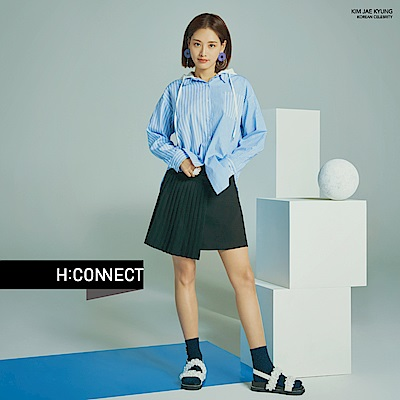H:CONNECT 韓國品牌 女裝-不對稱連帽襯衫-藍