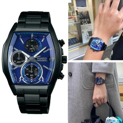 SEIKO WIRED 日系潮流 酒桶型計時中性錶(VR33-0AB0B)藍AY8013X1