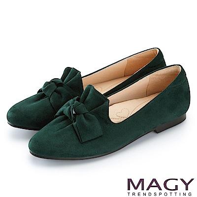 MAGY 復古上城女孩 抓皺蝴蝶結平底鞋-綠色