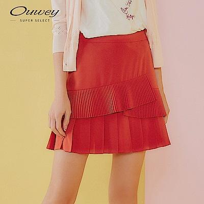 OUWEY歐薇 俏麗感造型拼接雪紡百摺褲裙(藍/紅)