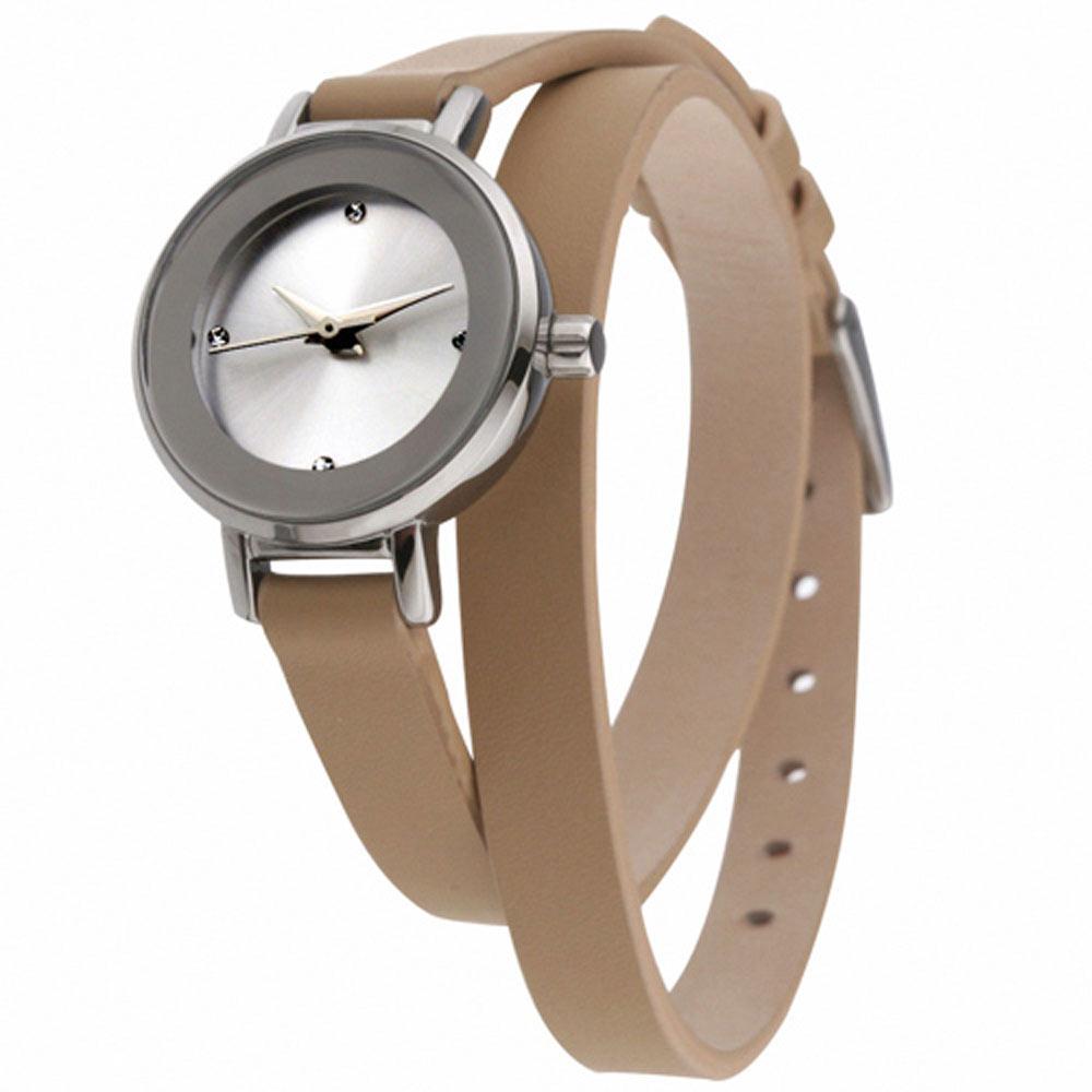 MANGO 俏麗佳人小錶面晶鑽雙圈錶帶腕錶-杏/24mm