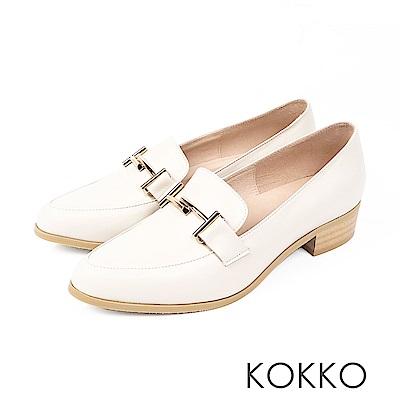 KOKKO - 薇多莉亞真皮舒壓尖頭粗跟鞋- 純淨米白