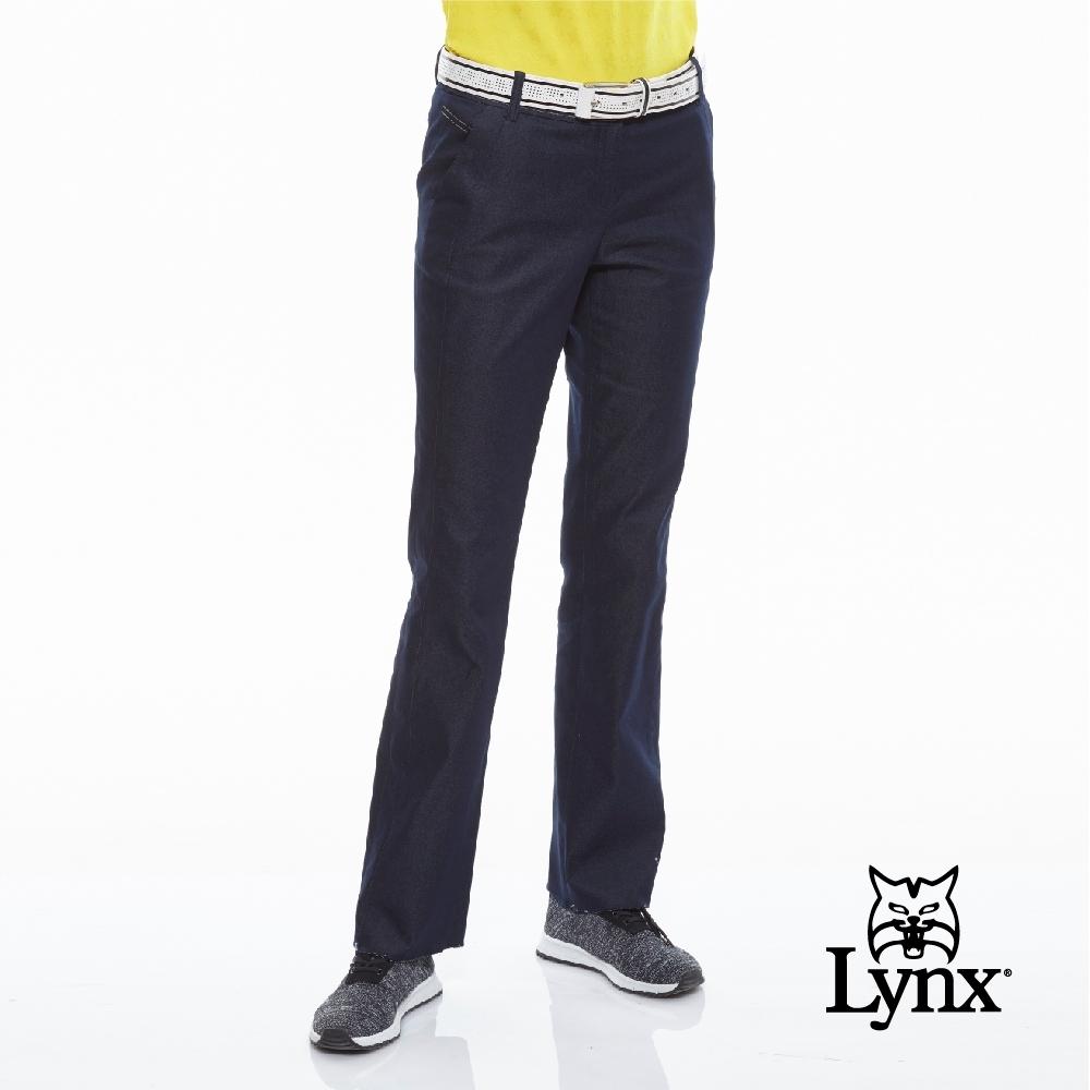 【Lynx Golf】女款舒適牛仔單寧紋路縫線配色休閒長褲-深藍色