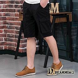 Dreamming 超輕薄多口袋伸縮休閒工作短褲-黑色