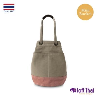 Loft THAI | 泰.兩用帆布水桶包(小) | Khaki/dusty-rose