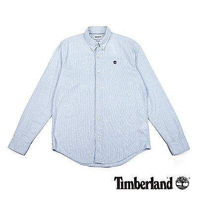 Timberland 男款藍色條紋長袖Indian River 襯衫|A1NK8