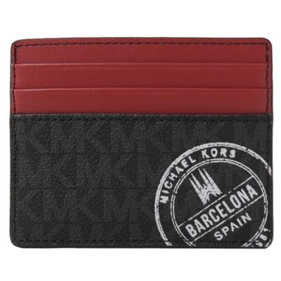 MICHAEL KORS BARCELONA巴塞隆納郵戳簡易卡片夾(黑紅)