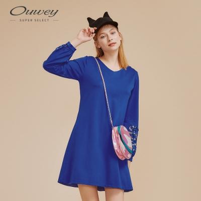 OUWEY歐薇 縷空水溶蕾絲拼接洋裝(藍)