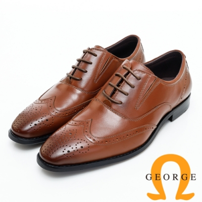 GEORGE 喬治皮鞋 經典漸層雕花綁帶紳士皮鞋-紅棕色