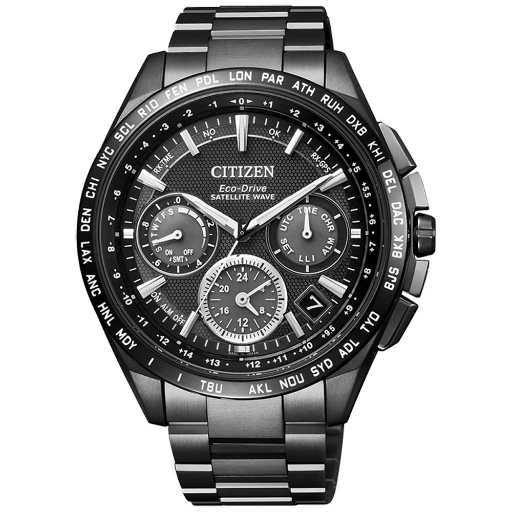 CITIZEN Eco-Drive  宇宙航道衛星對時鈦金屬腕錶-黑