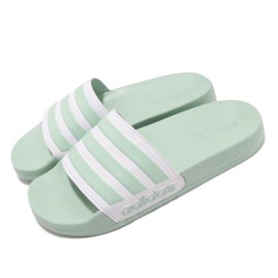 adidas 涼拖鞋 Adilette Shower 女鞋 輕便 穿搭 夏日拖 基本款 綠 白 EG1885