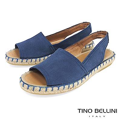 Tino Bellini 西班牙進口全真皮魚口悠活麻編平底涼鞋 _ 藍