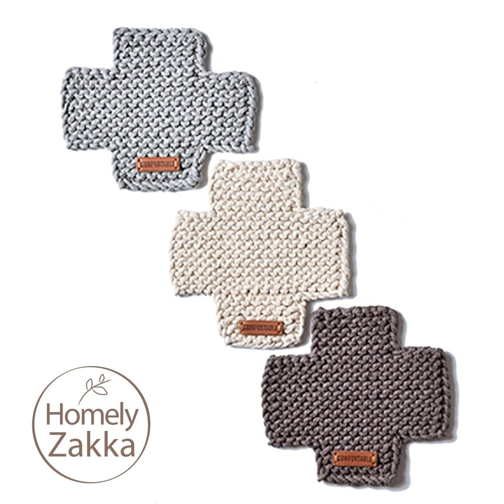 【Homely Zakka】北歐簡約風十字棉線隔熱墊/餐墊/杯墊_咖啡色