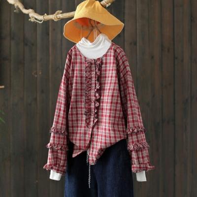 木耳花邊包扣純棉格子襯衫寬鬆上衣-設計所在