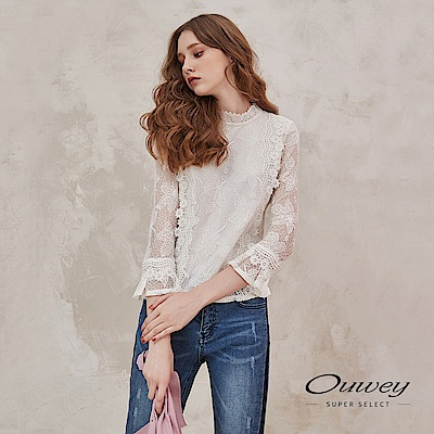 OUWEY歐薇 透膚造型水溶蕾絲小立領上衣(白)