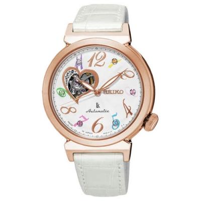 SEIKO 精工LUKIA 開芯皮帶機械錶-白玫塊金框/34.6mm(SSA840J1)