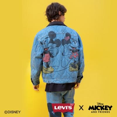 Levis X Disney 合作系列 男女同款 雙面穿鋪棉牛仔外套 / 寬鬆休閒版型 / 精工米奇刺繡