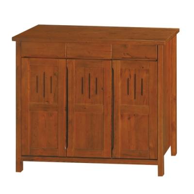 綠活居 菲思典雅風4尺三門三抽實木鞋櫃/玄關櫃-120x41x111.5cm免組