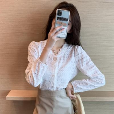 法式復古鏤空蕾絲雪紡衫S-XL(共二色)-白色戀人