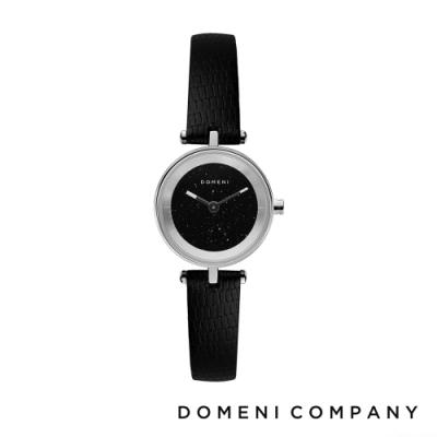 DOMENI COMPANY 星空錶盤系列 義大利小牛皮錶帶 銀錶框 -黑/22mm