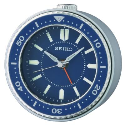 SEIKO 日本精工 藍水鬼 滑動式秒針 貪睡 鬧鐘(QHE184L)藍/9.5X9.4cm