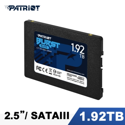 Patriot美商博帝 BURST ELITE 1.92TB 2.5吋 SSD固態硬碟 (PBE192TS25SSDR)
