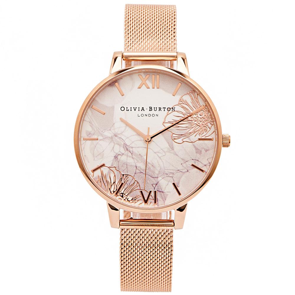 Olivia Burton愛戀花朵風米蘭帶手錶(OB16VM15)米白面/38mm