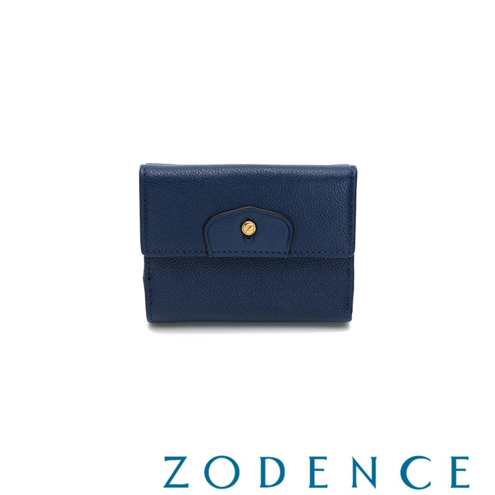 ZODENCE CUFF進口牛皮袖釦設計短夾 藍色